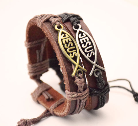 Handmade Leather Jesus Bracelet