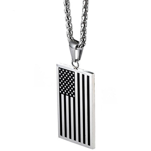 Image of American Flag Dog Tag Pendant Necklace or KeyChain