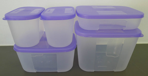 Tupperware My First FreezerMate Set of 5 - Purple Lids
