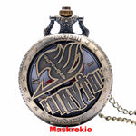Fairy Tail  Anime  Pattern Hollow Natus Dragneel Vintage Pocket Watch With Necklace Chain
