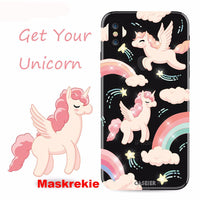Christmas Special APPLE iPhone X 10 Unicorn Transparent Glitter Rhinestone Shell Soft Silicone TPU Phone Cover Case