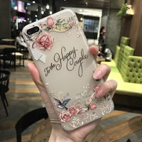 Christmas Special APPLE iPhone  6 6s 7 8 Plus Silicone Soft TPU Flower 3D Phone Cover Case