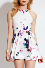 Casual Halter Neck Sleeveless Floral Print Mini Dress