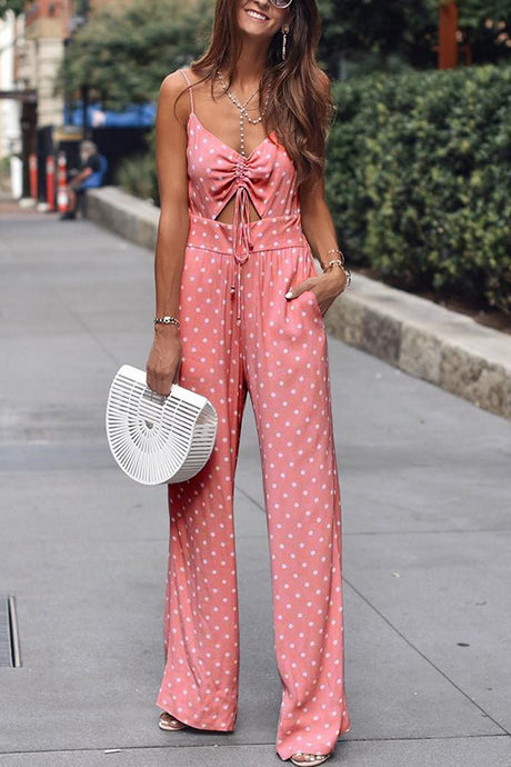 Sexy Pink Sleeveless Wave Point Jumpsuits
