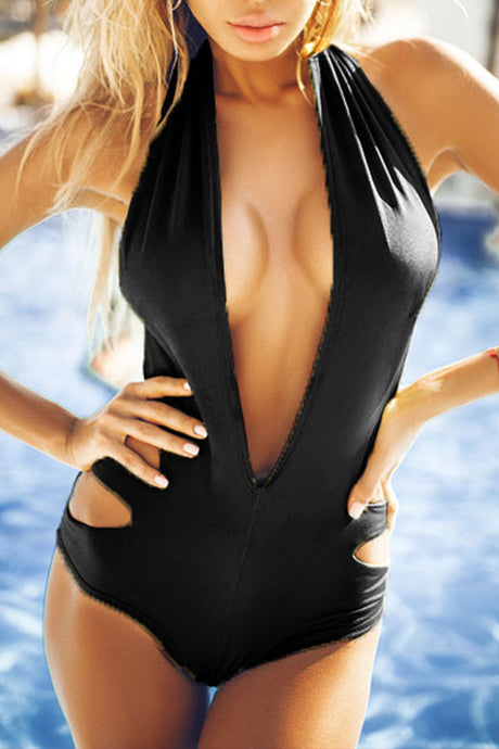 Deep V Neck  Cutout  Plain One Piece