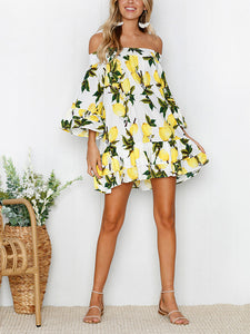Elegant Random Off Shoulder Floral Print Mini Dress