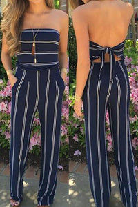 Blue Fashion Stripe Print Backless Jumpsuits