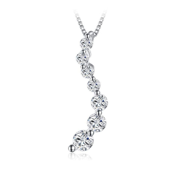 Curved CZ Pendant Jewelry 2019 Gemstone Jewelry Type_Pendants & Necklaces New Silver Jewelry New Trends