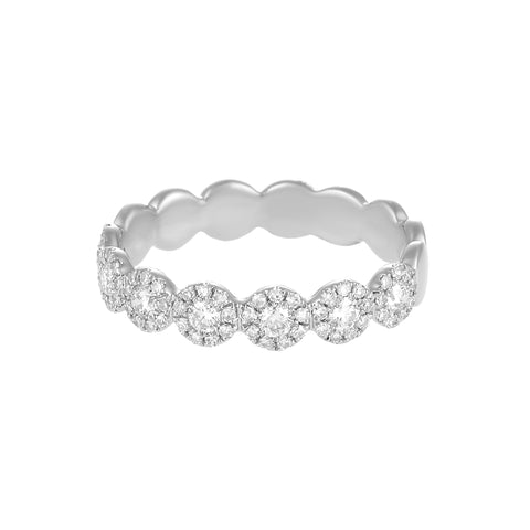 Let It Shine- Circle 14k White  Gold and Diamond Ring- Lola James Jewelry