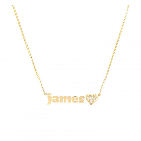 Mini Me- Diamond Heart- Personalized Necklace with Diamond Heart Accent- Lola James Jewelry
