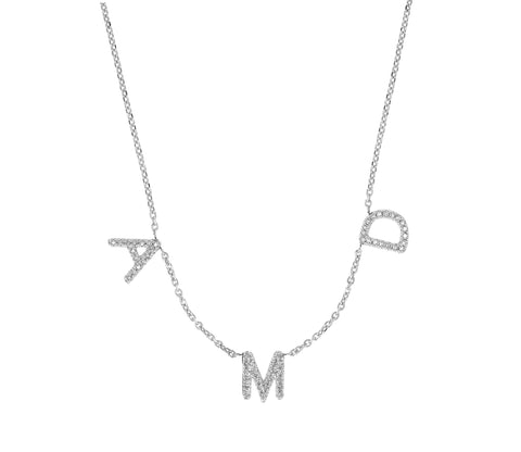 Diamond Squad Goals- Diamond Personalized Initial Necklace- Lola James Jewelry