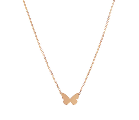 Flutter- 14K Rose Gold Butterfly Necklace- Lola James Jewelry