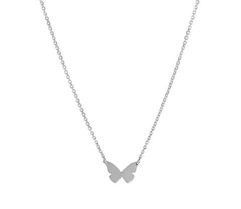 Flutter- 14K White  Gold Butterfly Necklace- Lola James Jewelry