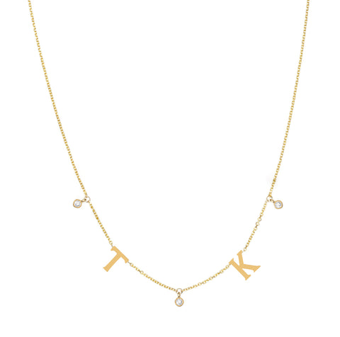 Squad Goals Spaced Out -  Dangling Personalized Initials Diamond Accents- Lola James Jewelry