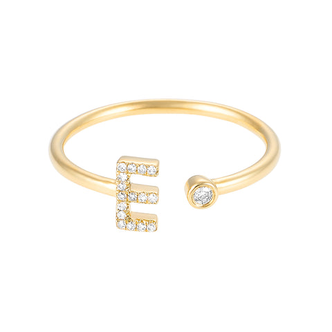 Girl Boss- Diamond Initial Ring with diamond accent- Lola James Jewelry