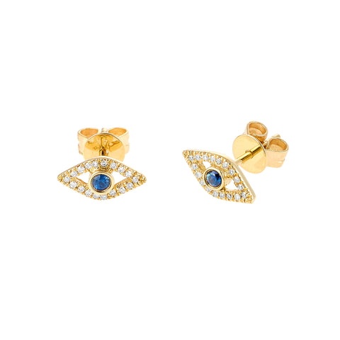 Eyes On You- Diamond Sapphire 14k Gold Eye Earrings- Lola James Jewelry