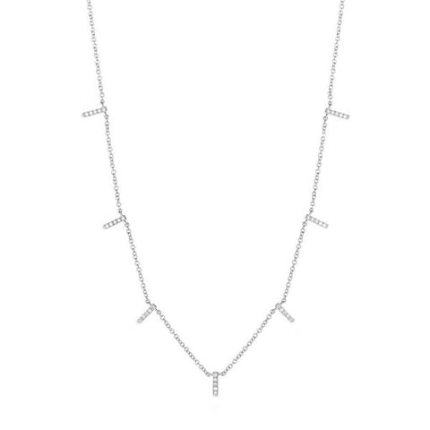 Mini Bar- Mini Bar 14K White Gold Necklace,  Diamond Accent Bars Necklace- Lola James Jewelry