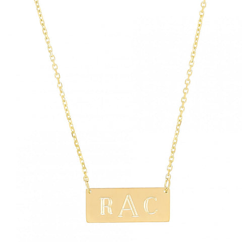 Mini Alter Ego-  Mini 14K Gold  Nameplate Necklace with Initials- Lola James Jewelry