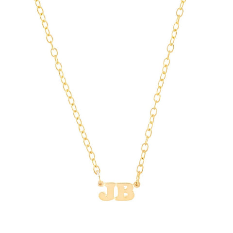Mini Me Double Initial- 14K Gold Mini Initial Necklace- Lola James Jewelry