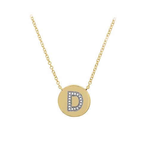 Initial Disc -  Diamond Pave Initial in 14K Gold- Lola James Jewelry