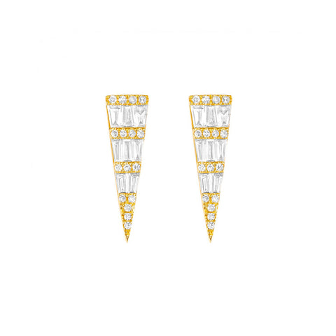 Fancy- Baguette Diamond Statement Earrings- Lola James Jewelry