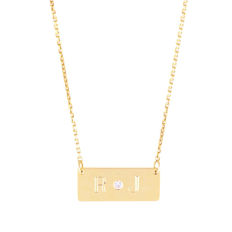 Mini Alter Ego-  Mini 14K Gold  Nameplate Necklace with Diamond Accent- Lola James Jewelry