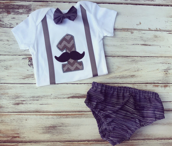 Mustache and Bow Ties Smash Cake Outfit