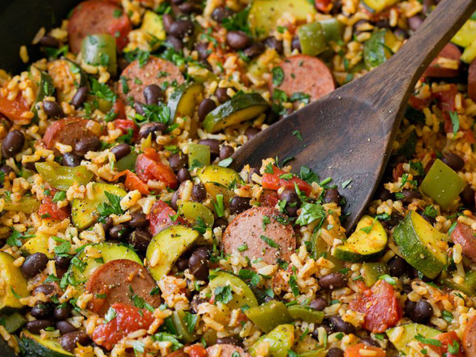 Sausage Zucchini and Brown Rice Skillet