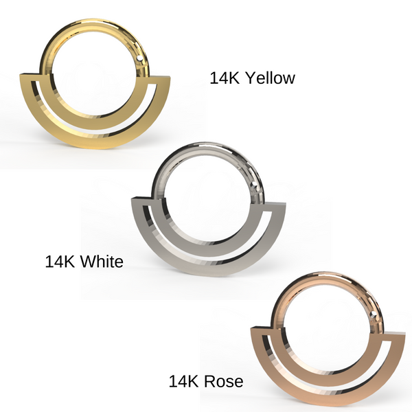 gold septum clicker in 14K white, rose, yellow