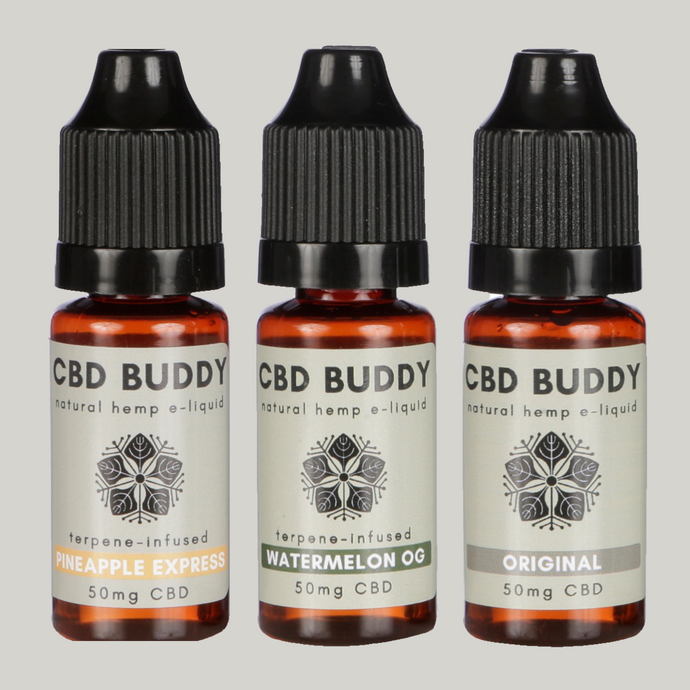 MIXED CBD VAPE MULTIBUY: Save 15%! Includes Original, Watermelon OG (chilled) & Pineapple Express (energising) to suit your every mood