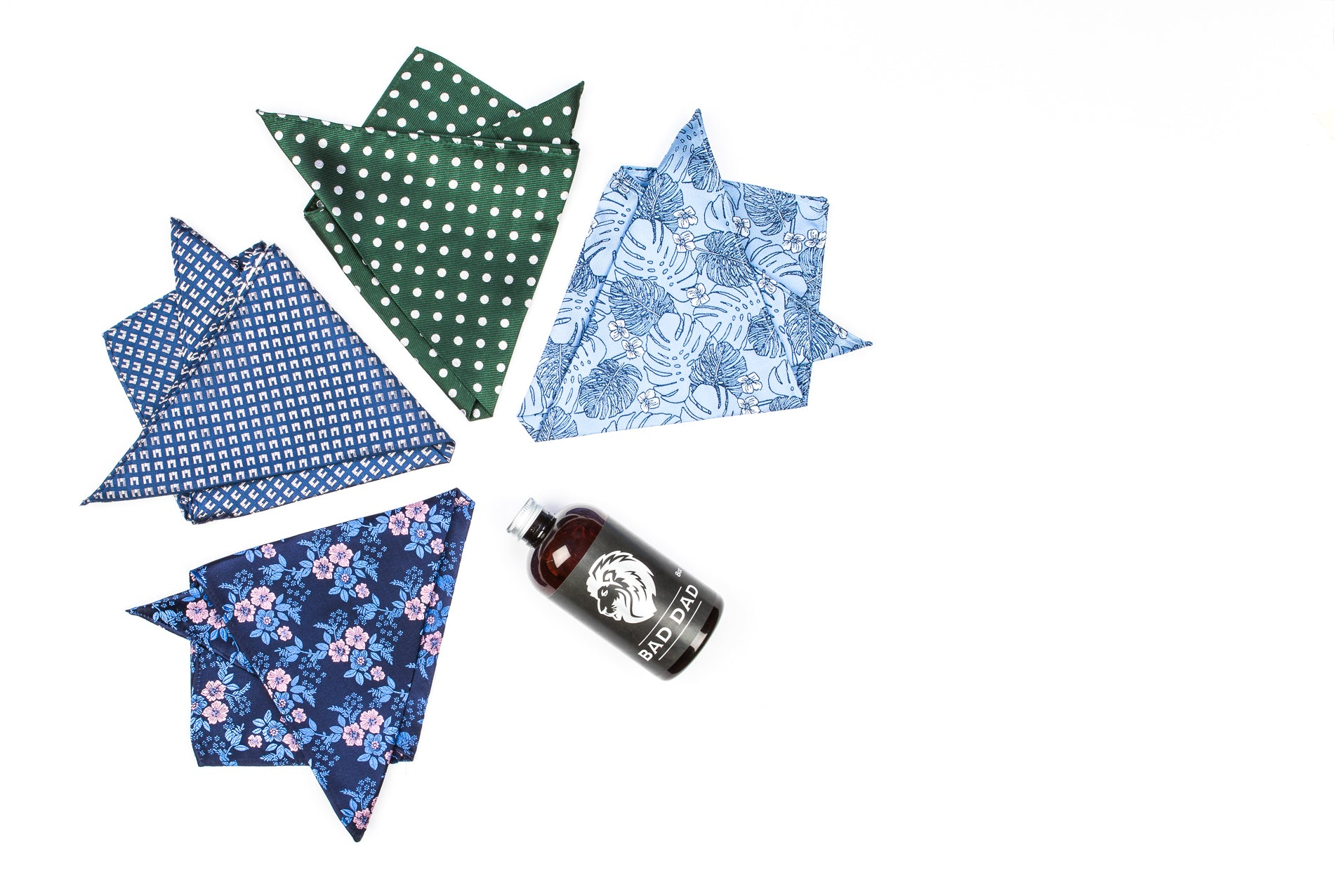 Silk Pocket Squares - Green with Silver Polka Dots