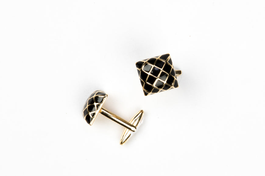 Black Criss Cross Bronze Color Cufflinks