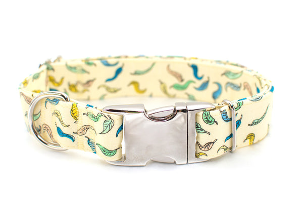 Leaves on Pale Yellow Adjustable Dog Collar - Fox Valley Dog Collars