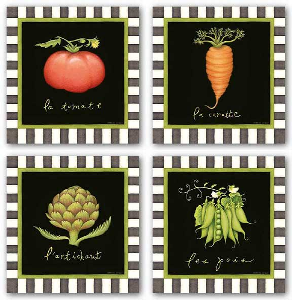 Les Pois, La Tomate, La Carotte, and L'Artichaut Set by Beth Logan