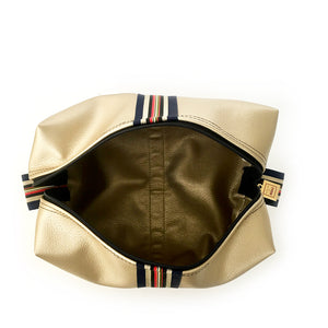 gold stripe preppy travel bag