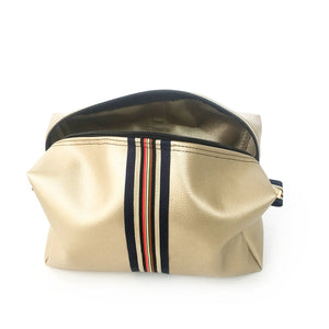 gold leather preppy striped travel bag