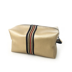 gold vegan toiletry bag preppy by Love & Moxie