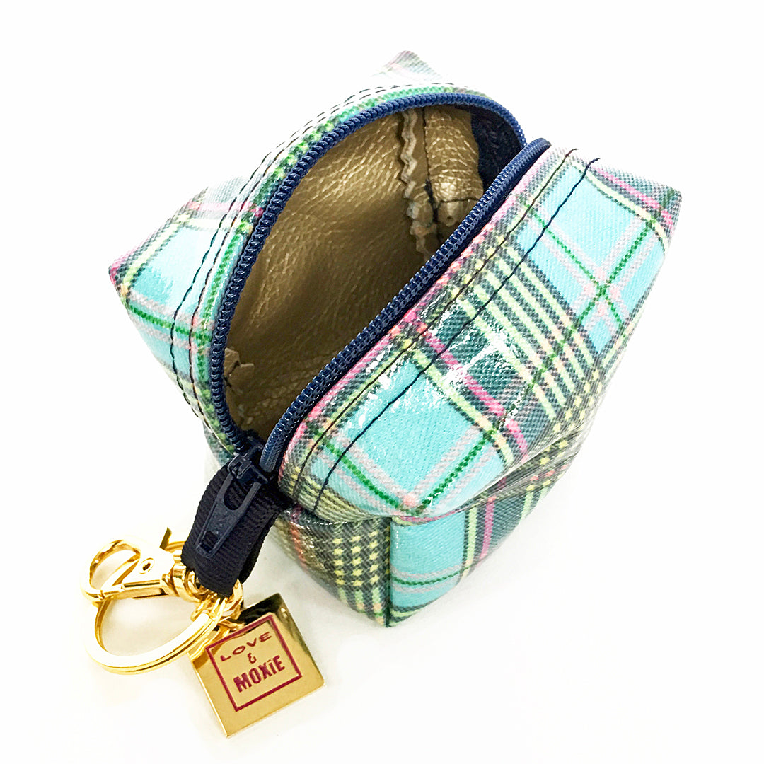 plaid clip on change purse