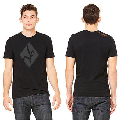 Men's black out climber t shirt featuring deconstructed Stone Age Climbing Gym logo