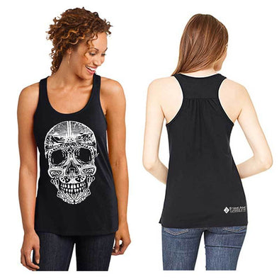 Black women's climbing themed sugar skull tank top front and back