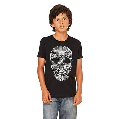 Youth black sugar skull t shirt with climbing theme