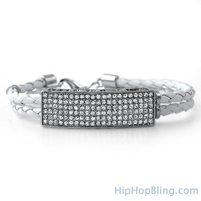 Dual Strand White Leather Bling ID Bracelet