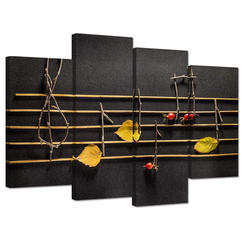 iHAPPYWALL Wooden Musical Notes and Yellow Leaves On Black Background 4 Panle Music Pictures Posters for Classroom Decor