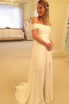 Flowy Ivory Off The Shoulder Long Chiffon Lace Beach Wedding Dresses Z0167