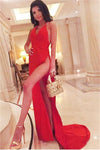 Sexy V-neck Red Long Simple Cheap Spaghetti Straps Prom Dresses With Split Z0350
