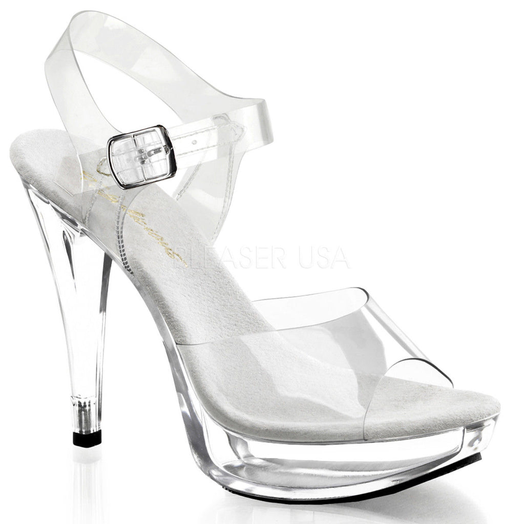 FABULICIOUS Cocktail-508 Clear Chrome FItness Bikini Model Comp Straps Heels