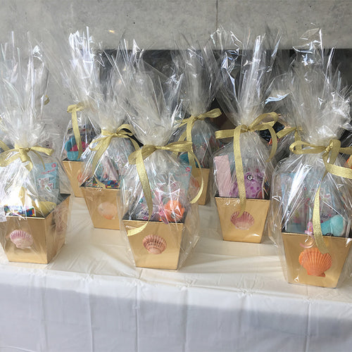 Themed gift boxes on a table