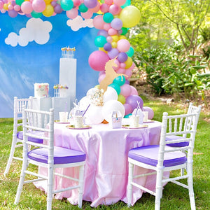 Unicorn party with cloud balloon decorations and unicorn decorations