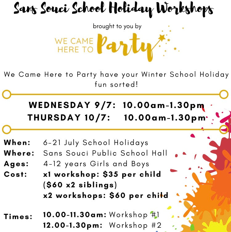 Sans Souci School Holiday Workshops (July 2019)