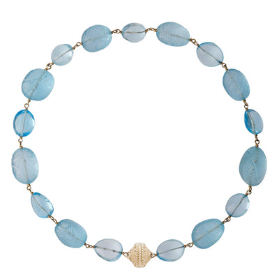18k Blue Topaz Caspian Necklace with Signature Magnetic Clasp
